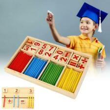 UK Wooden Math Counting Blocks Sticks Educational Learning Abacus Kids Toys Gift