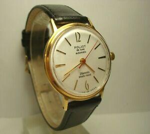 Poljot De Luxe Automatic Wrist Watch 29 Jewels Calendar Watch USSR Mens Gift