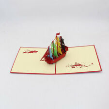 3D Laser Cut Sailboat Shape Card Handcrafted Birthday Cards Message Postcard HD