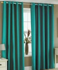90 inch x 108 inch Long Teal Faux Silk Fully Lined Eyelet Curtains inch Ring Top
