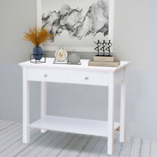 White 2 Drawer Wooden Console Table w/ Shelf Dressing Table For Hallway Bedroom