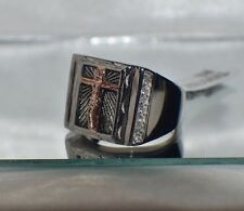 RELIGIOUS JESUS CROSS~CUBIC ZIRCONIA~UNISEX  STAINLESS STEEL  FATHER'S DAY RING