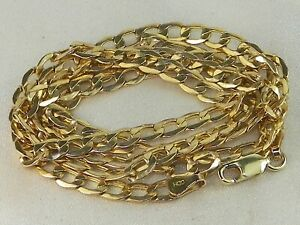 """10k Yellow Gold .417 Cuban Curb Style Chain 24"""" Fine Necklace"""