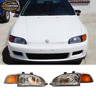 Fits 92-95 Honda Civic Coupe Hatchback Jdm Black Headlights