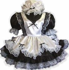 """Fern"" Custom Fit Black & White Satin MAID Adult LG Sissy Dress & Cap LEANNE"