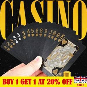 Waterproof Plastic Playing Cards Black Diamond Poker Cards Set Table Games LT