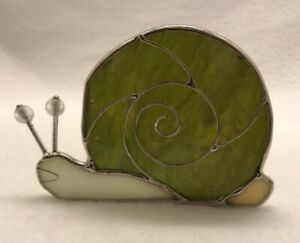 Cute Stained Glass SNAIL Candle Holder votive tealight green