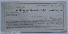 Arlington, Ma. 1919 Arlington Firemen's Relief Association Receipt J.H. HARWOOD