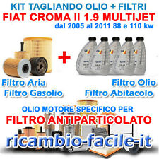 KIT TAGLIANDO FIAT CROMA II 1.9 MJT 4 FILTRI +OLIO Q8 LONGLIFE 5W30 C2 88 110 KW