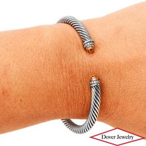 DAVID YURMAN Diamond Citrine Sterling Silver Cable Classic Cuff Bracelet NR