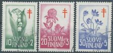 Finland 1958 Used Flowers Lily Clover Hepatica Flora Tuberculosis Scott B148-150