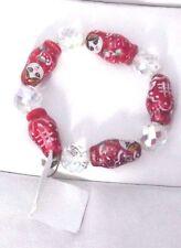 Red & White Ceramic bead russian doll Funky Kitsch bracelet Rare