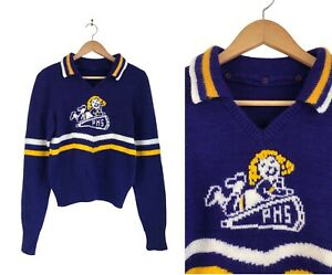 Vintage Cheerleader Sweater 1970s Purple Yellow White PHS Collared Cheer Small