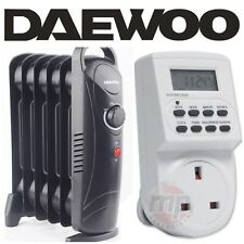 Daewoo 800W Black Mini Oil Filled Radiator Heater + Thermostat & Digital Timer