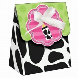"""Baby Cow Print Girl Baby Shower Favor Bags w/Ribbon 12 Per Pack 4.5"""" x 3.5"""" x 2"""""""