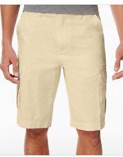 Univibe Men's White Soft-Wash 11.5-Inch Peached Drawstring Cargo Shorts, Size 31
