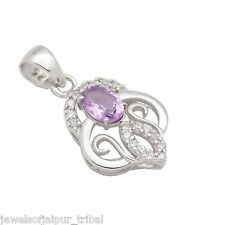 925 Sterling Silver American Diamond Nice Locket Amethyst Stone Pendant 202AT