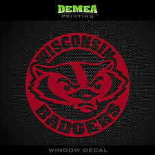 """Wisconsin - Badgers- Icon with Text - NCAA - Red Vinyl Sticker Decal 5"""""""