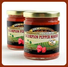 Hot Pepper Mash Puree(puree) made from fresh Moruga Scorpion Chilies 9oz jar