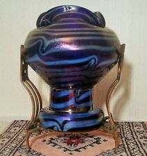 HECKERT Jugendstil art glass vase antique blue silver vtg bohemian cobalt kralik