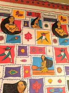 Vintage 90's Disney Pocahontas Throw Blanket Felt-Like Poly Acrylic 88x72 Flit