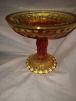 Vintage Amberina Pressed Glass Footed Pedestal Compote Bowl Candy Dish