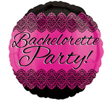 BACHELORETTE PARTY!  Bright Pink Black Elegant Lace Girls Night Party Balloon