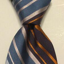 BARNEYS NEW YORK Silk XL Necktie ITALY Designer STRIPED Multicolor Skinny EUC