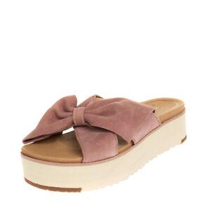 RRP €150 UGG AUSTRALIA JOAN II Leather Platform Sandals Size 37 UK 4 US 6 Bow