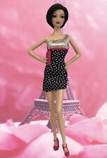 Barbie Clothes Black Silver Polka Dot Dress Purse Fashionista Model Muse Lot C