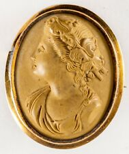Cameo Pin Brooch High Relief Antique 10K Gold Victorian Carved Lava