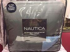 NEW! Nautica 3 Pc Solid Gray Light Blue Reversible Full  Queen Comforter & Shams