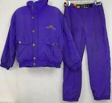 Vtg Bogner Mens Ski Suit Purple Goose Down Fill Jacket Pants Belt Purple 38R