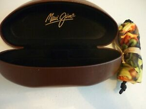 MAUI JIM BROWN CLAM SHELL HARD  GLASS CASE NEW WITH COLORFUL POUCH!