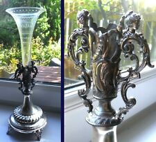 VICTORIAN SILVER PLATED SINGLE FLUTE EPERGNE CENTREPIECE-MAIDENS-c1880/90 %.