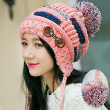Womens Winter Warm Braided Crochet Wool Knit Hat Girl Beret Ski Beanie Ball Cap