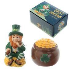 Salt Pepper Cruet Set Lucky Leprechaun Novelty GIFT Pot Of Gold Irish Ireland