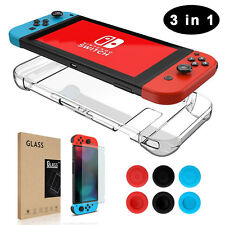 Nintendo Switch Hard Case + Tempered Glass Screen Protector + Thumb Grips Caps