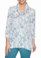 Ruby Rd. Women's Blouse Blue Size Medium M Apres Skies Eyelash Cowl $65 #102