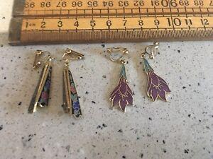 Two Pairs Of Vintage Clip In Earrings, Enamelled