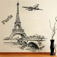 Wall Stickers Romantic Paris Tower Aircraft Decals Living Room Bedroom Office
