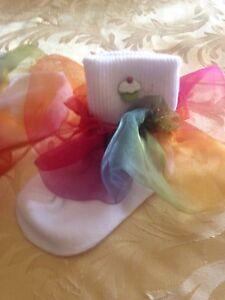 Girls white socks size 2-3 yrs rainbow organza ruffle cupcake button