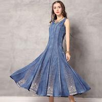 Women's Denim Long Dresses Embroidered Summer Sleeveless Cocktail Dress FLD301