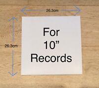 "100 x 10"" 78rpm LP Outer RECORD SLEEVES NO HOLE Plain White Album Cover Vinyl"