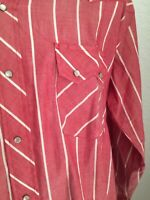 Vtg Stagecoach Western Wear Men's Shirt Large Pearl Snap Red Plaid Long Sleeve