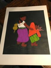 Vintage Mexican FOLK ART Painting * signed VVV * South America  Sisters