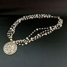 50MM Cz Pave Pendant White freshwater  Pearl Chain  4 strands Necklace