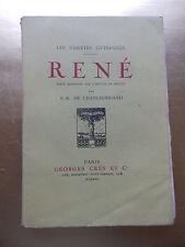 RENE PAR F. R. CHATEAUBRIAND EDT 1917 TEXTE REIMPRIME SUR L'EDITION DE MDCCCV