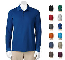 Croft & Barrow Men Textured Performance L/S Polo Shirt Many Colors 3XLT MSRP $48