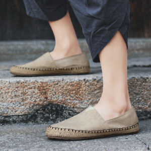 Mens Canvas Casual Driving Pumps Loafers Flats Outdoor Slip On Walking Shoes